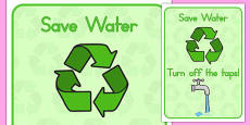 Eco and Recycling Turn Off the Taps Display Poster (Australia)