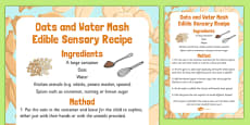 Oats and Water Mash Edible Sensory Recipe