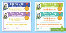 Sports Day Effort Certificates English/Polish
