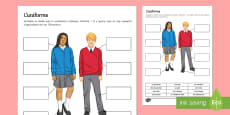 School Uniform Activity Sheet