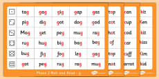 Phase 2 Letter Progression Set 3 g o c k Phoneme Roll and Read Mat Pack