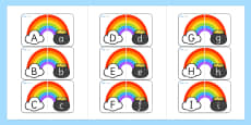 Rainbow and Pot of Gold Alphabet Matching Cards