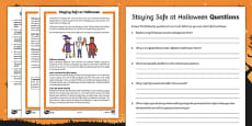 Staying Safe at Halloween Differentiated Reading Comprehension Activity