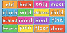 Year 2 Common Exception Words on Multicoloured Bricks