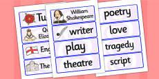 William Shakespeare Word Cards