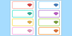 Gemstone Themed Editable Drawer Peg Name Labels