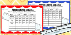 Measurements and Area Table Maths Challenge Cards