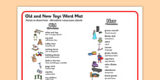 Old and New Toys Word Mat Polish Translation