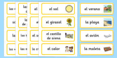 Summer Topic Word Cards Spanish