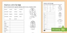 Adjectives for Clothes Sorting Activity Sheet Spanish