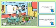 School Scene and Question Cards Arabic Translation