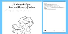 X Marks the Spot Seas and Oceans of Ireland Activity Sheet