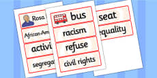 Rosa Parks Word Cards
