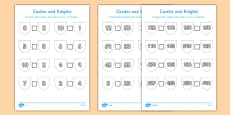 Castles and Knights Number Comparison Differentiated Activity Sheet Pack