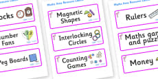 Flamingo Themed Editable Maths Area Resource Labels