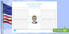 Barack Obama's Biggest Accomplishments Writing Activity Sheet