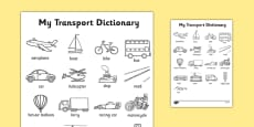 Transport Dictionary Colouring Sheet