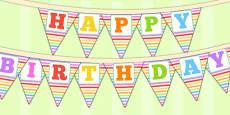 Rainbow Themed Happy Birthday Bunting