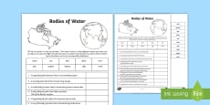 Bodies of Water Activity Sheet
