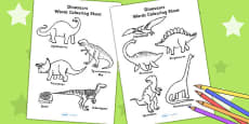 Dinosaur Words Colouring Sheet