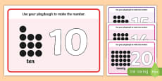 Simple Number Playdough Mats (11-20)