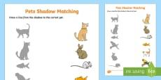 Pets Shadow Matching Activity Sheet