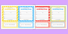 3rd Birthday Party Invitations