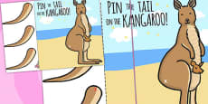 Pin The Tail On The Xmas Kangaroo A4 (Australia)