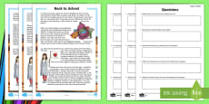 Back to School CfE Second Level Differentiated  Go Respond Activity Sheet