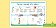 Days, Months and Seasons Word Mat French