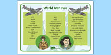 World War Two Word Mat Text