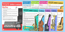 The History of Music: Musical Styles Through the 20th Century Information Poster Pack
