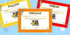 English as a Foreign Language Club Certificates Arabic Translation
