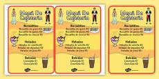 Spanish Cafe Role Play Menu