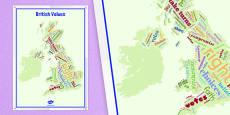British Values British Isles Word Cloud Display Poster