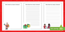 What Would You like for Christmas? Writing Frames