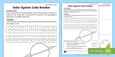 Solar System Code Breaker Activity Sheet