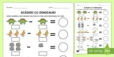 Scăderi cu suport vizual pe tema dinozaurilor Fișă de activitate