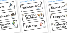 Space Themed Editable Writing Area Resource Labels