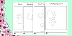 Spring Themed Symmetry Activity Sheets Polish