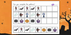Halloween Complete the Pattern Activity Sheet