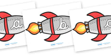 A-Z Alphabet on Rockets (lowercase cursive)