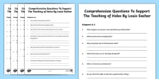 Comprehension Questions Activity Sheets to Support Teaching on Holes by Louis Sachar