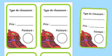 Shoe Shop Role Play Shoe Box Labels French