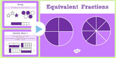 Year 3 Equivalent Fractions PowerPoint with Activity Sheets