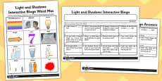 Activity Sheet Light and Shadows Interactive Bingo