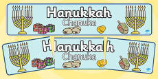 Judaism Hannukah Display Banner Polish Translation
