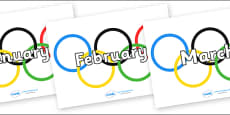 Months of the Year on Olympic Rings