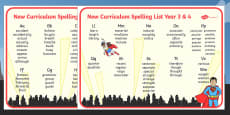 Superhero Themed Spelling List Years 3 and 4