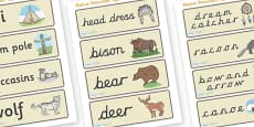 Native American Word Cards